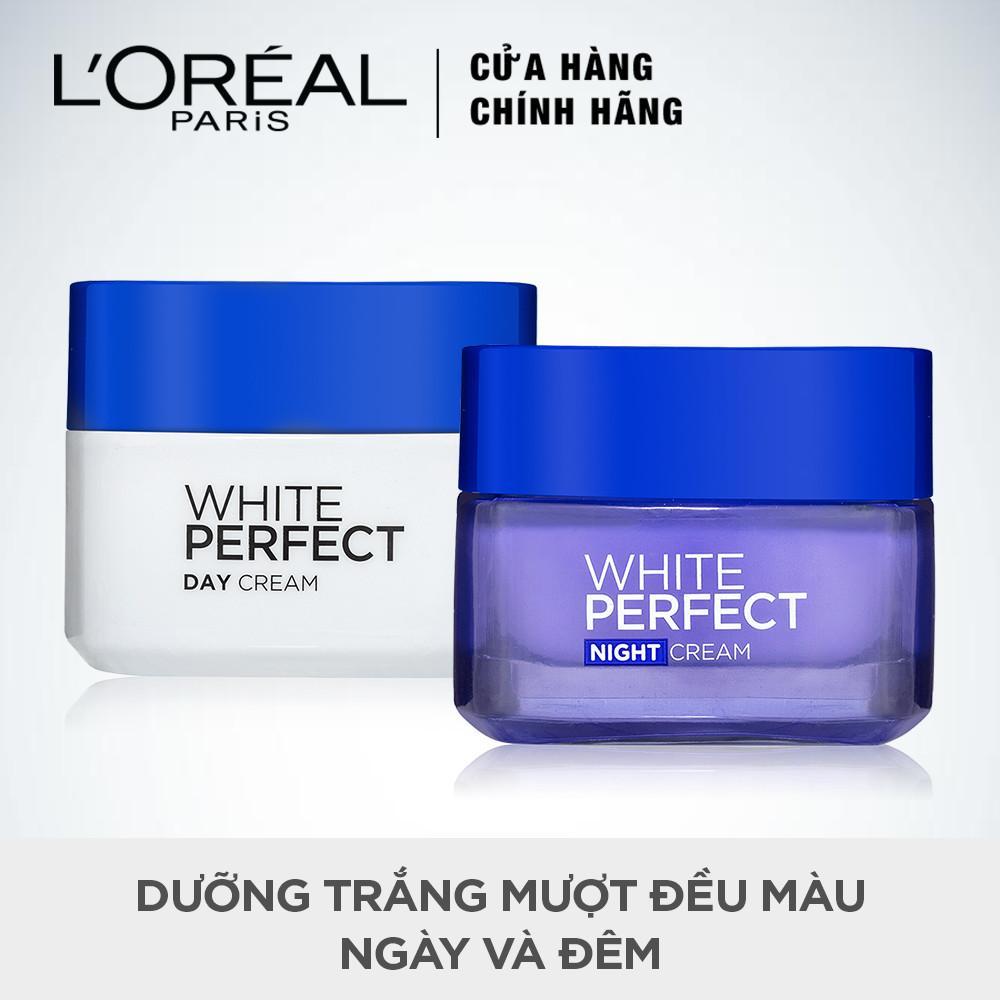 Bộ kem dưỡng da trắng mượt đều màu ngày và đêm LOréal Paris White Perfect 50ml