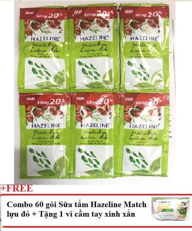 Combo 60 gói sữa tắm Hazeline matcha lựu đỏ + Tặng 1 ví cầm tay xinh xắn nhập khẩu
