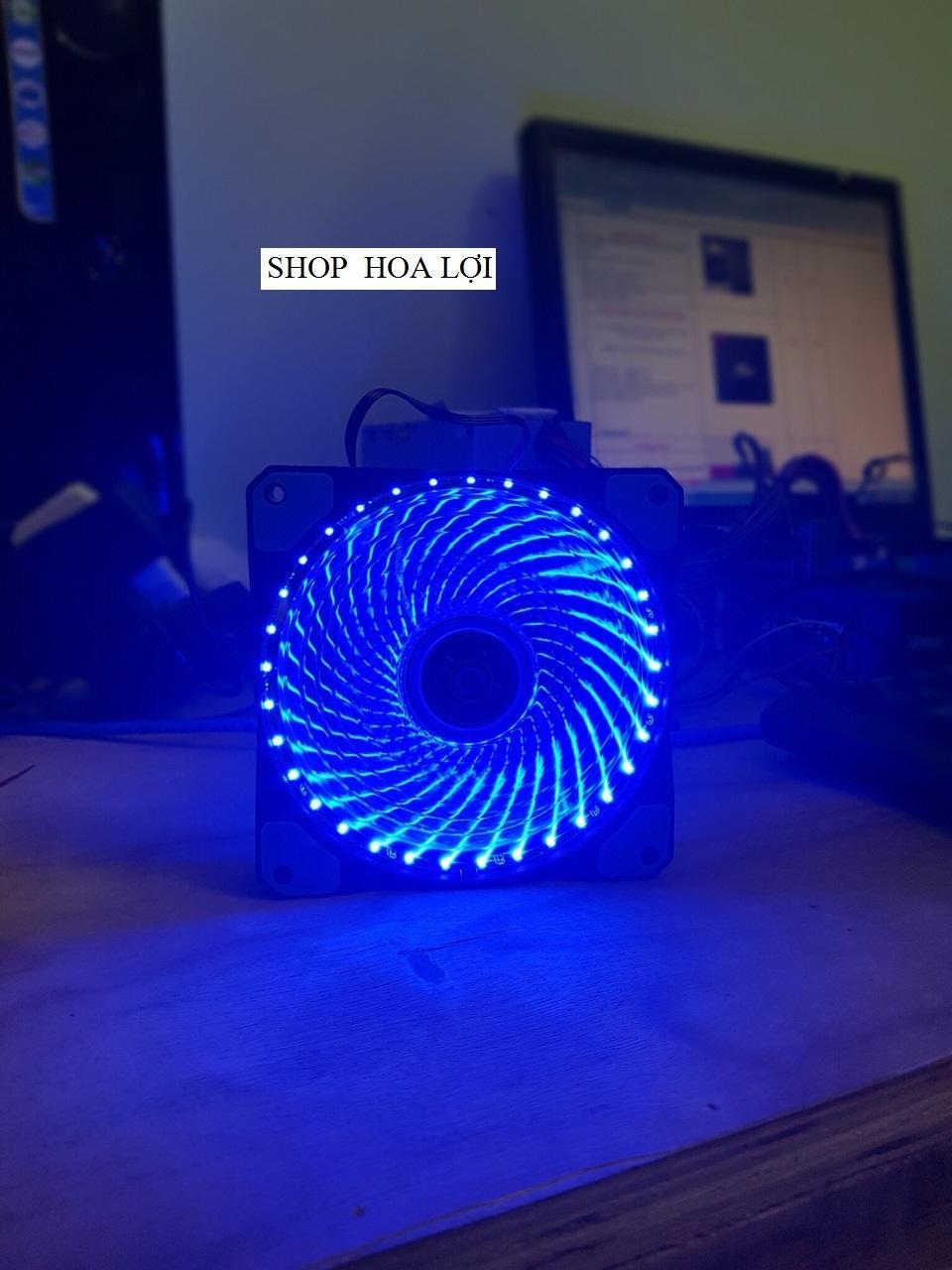 Hình ảnh Fan Led 12cm Brushless fan 33 Led - Quạt Led 12cm màu xanh
