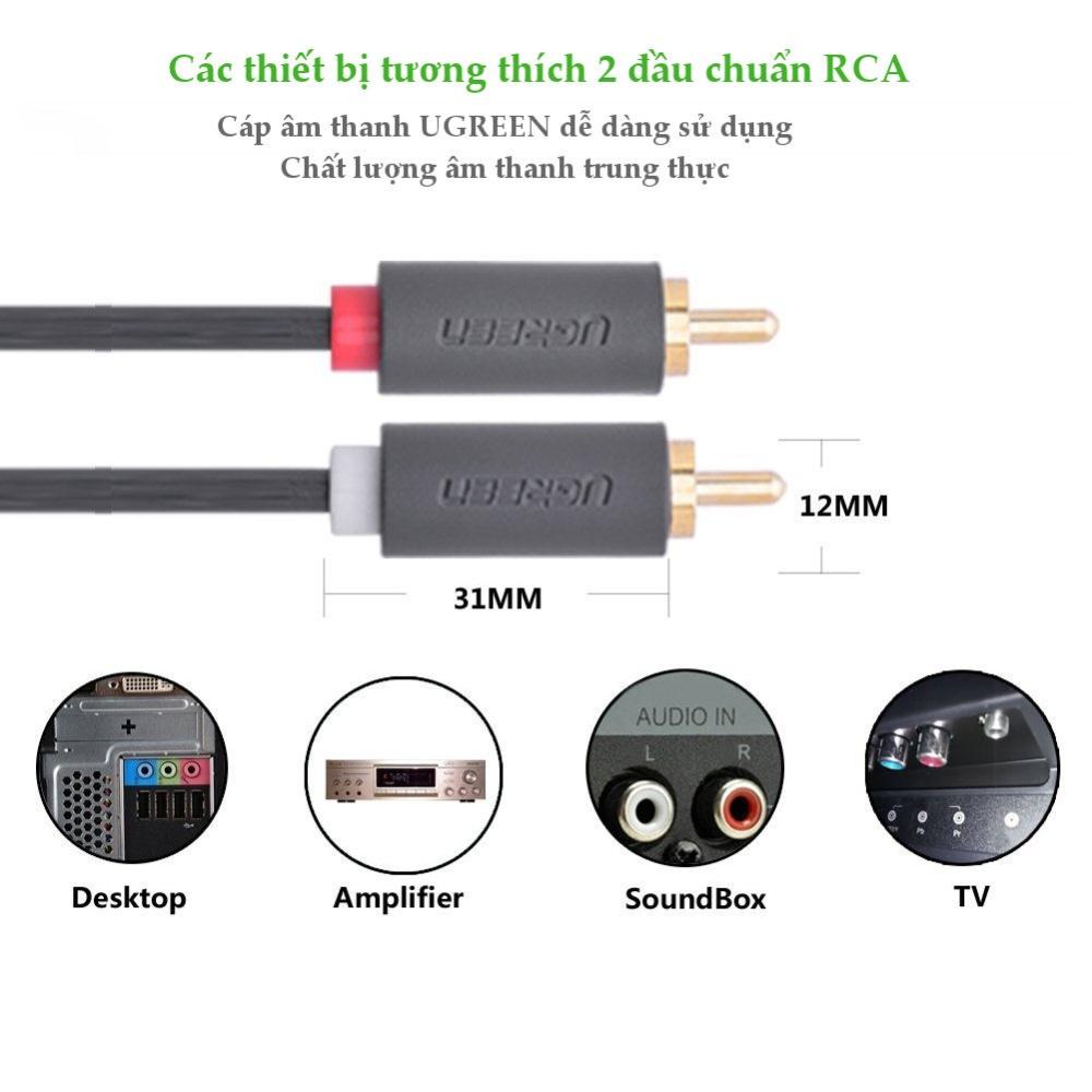 Cáp chuyển âm thanh jack 3.5mm cái sang 2 đầu hoa sen RCA đực UGREEN AV111
