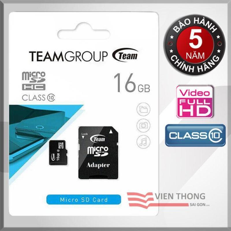 Thẻ nhớ 16GB Class10 Team Group INC Micro SDHC (Đen) Adapter - Hãng phân phối chính thức