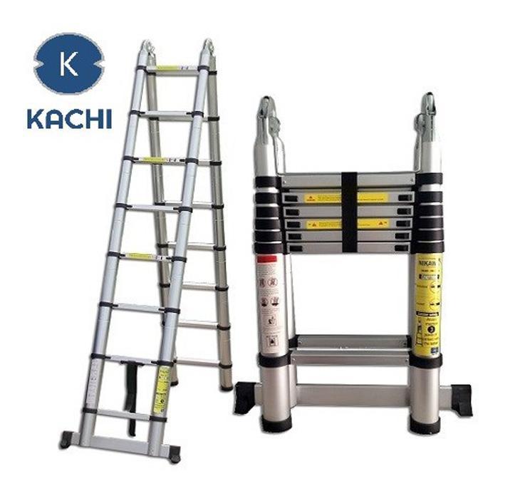 Thang nhôm rút chữ A 3m8 Kachi MK02