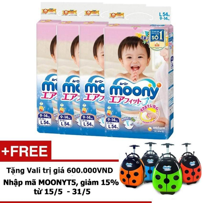 Bộ 4 Tã dán Moony L54 -Tặng Vali con bọ trị giá 600.000 VND