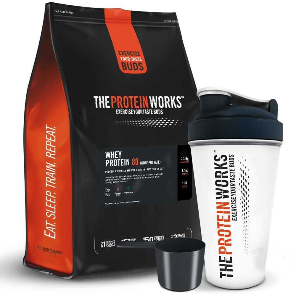 Combo Sữa tăng cơ - Whey Protein 80 (Concentrate) - The protein works - 1kg 40 Servings & Bình lắc 700 ml