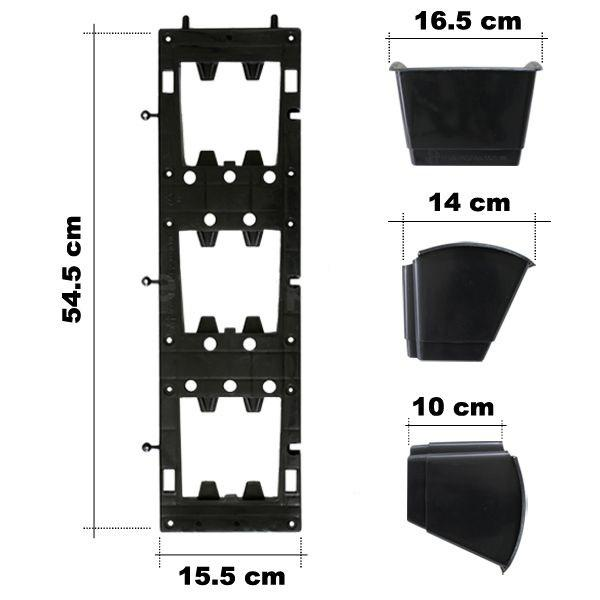 Combo 5 bộ chậu vườn tường đứng 54.5 x 15.5cm