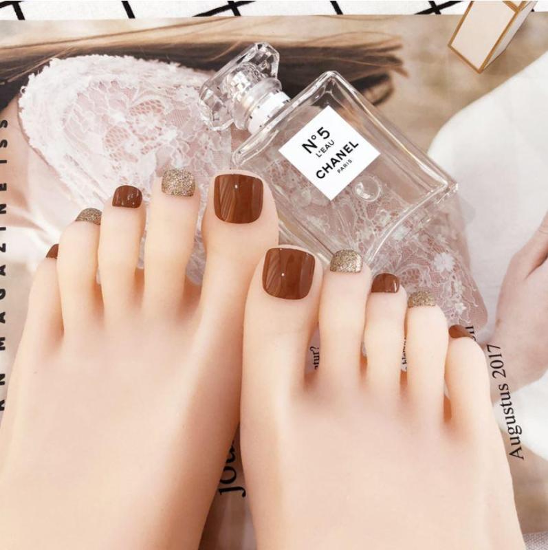 Bộ 24 móng chân giả màu nâu cam đẹp (kèm keo+miếng dán+dũa)