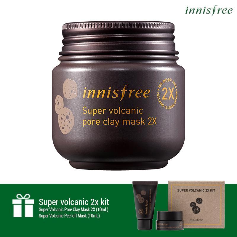 Siêu mặt nạ chăm sóc lỗ chân lông Innisfree Super Volcanic Pore Clay Mask 2X 100ml + Tặng 1 bộ sản phẩm chăm sóc lỗ chân lông