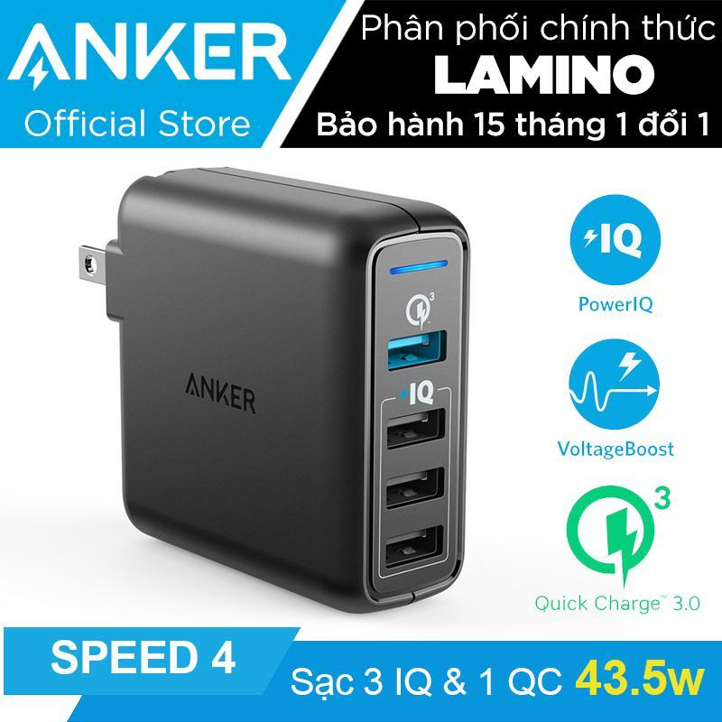 Sạc ANKER PowerPort Speed 4 cổng 43.5W Quick Charge 3.0 và PowerIQ (Đen) - Hãng phân phối chính thức