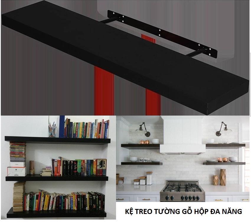 Kệ treo tường 1 thanh gỗ hộp dài 100cm sâu 24cm dày 3,5cm khung thép phía trong chắc chắn thẩm mỹ (Đen) đa năng cho phòng khách