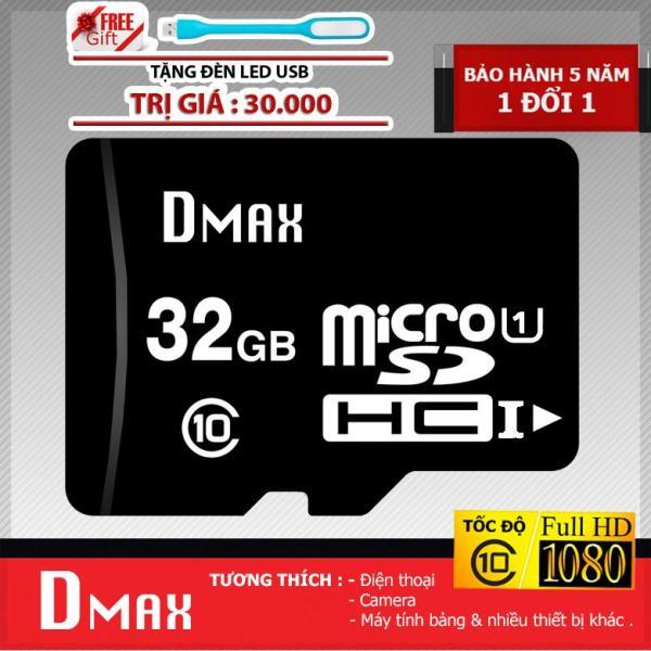Thẻ nhớ 32GB UHS1 U1 Dmax Micro SDHC class 10+Tặng đèn led