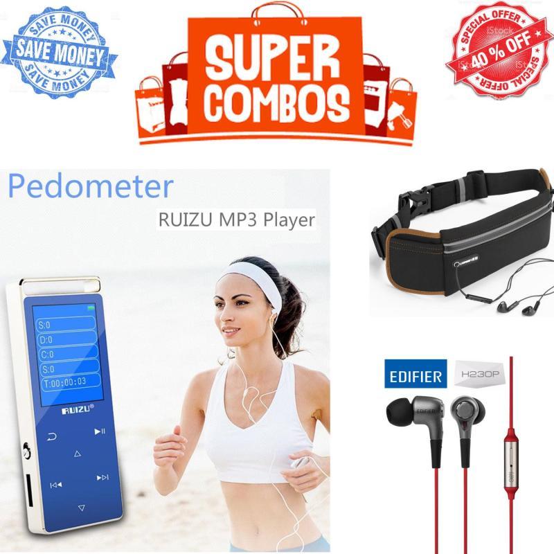 Bộ sản phẩm nghe nhạc khi tập thể thao, đạp xe, tập gym: Máy nghe nhạc thể thao HiFi 2018 Ruizu D01  + Tai nghe Edifier H230P + Túi đeo hông đa năng Ugreen