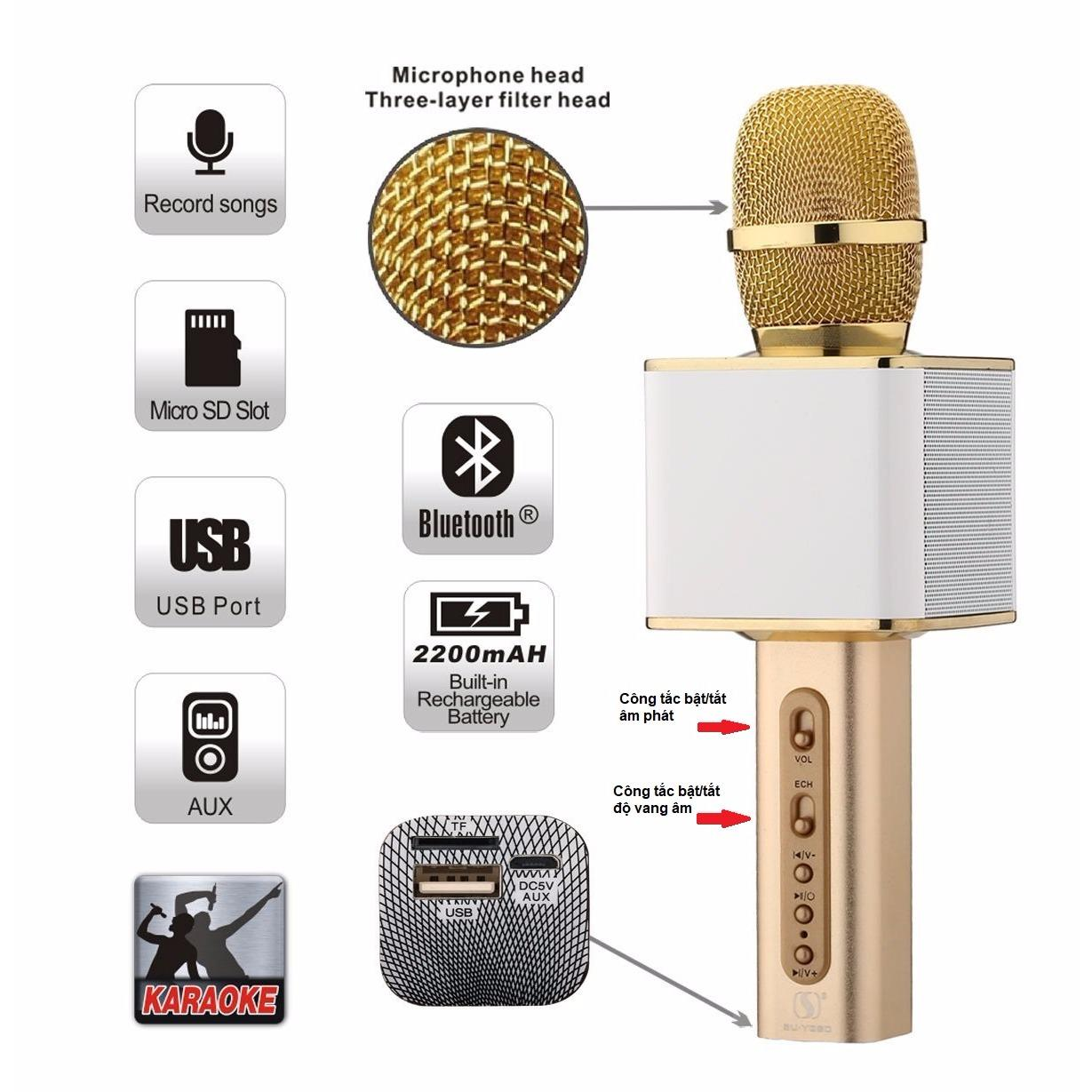 Giá Bán Micro Hat Karaoke Sd 08 Mic Hat Karaoke Kiem Loa Bluetooth Sun247 Mới