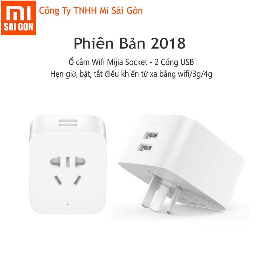 Ổ cắm Wifi Mijia Socket tích hợp 2 cổng USB 5V-2.4A - Phiên bản 2018