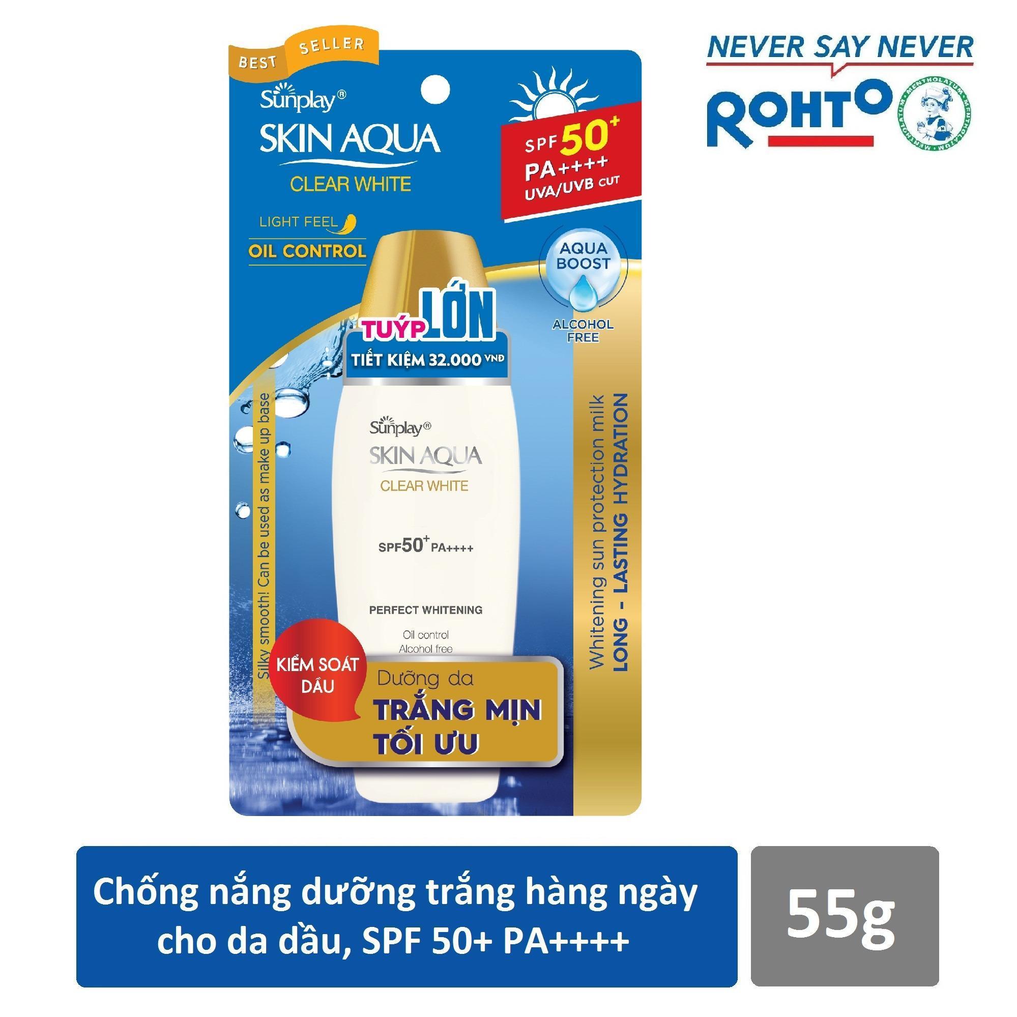 Kem chống nắng Sunplay Skin Aqua Trắng Mịn Tối Ưu SPF 50 55gr nhập khẩu