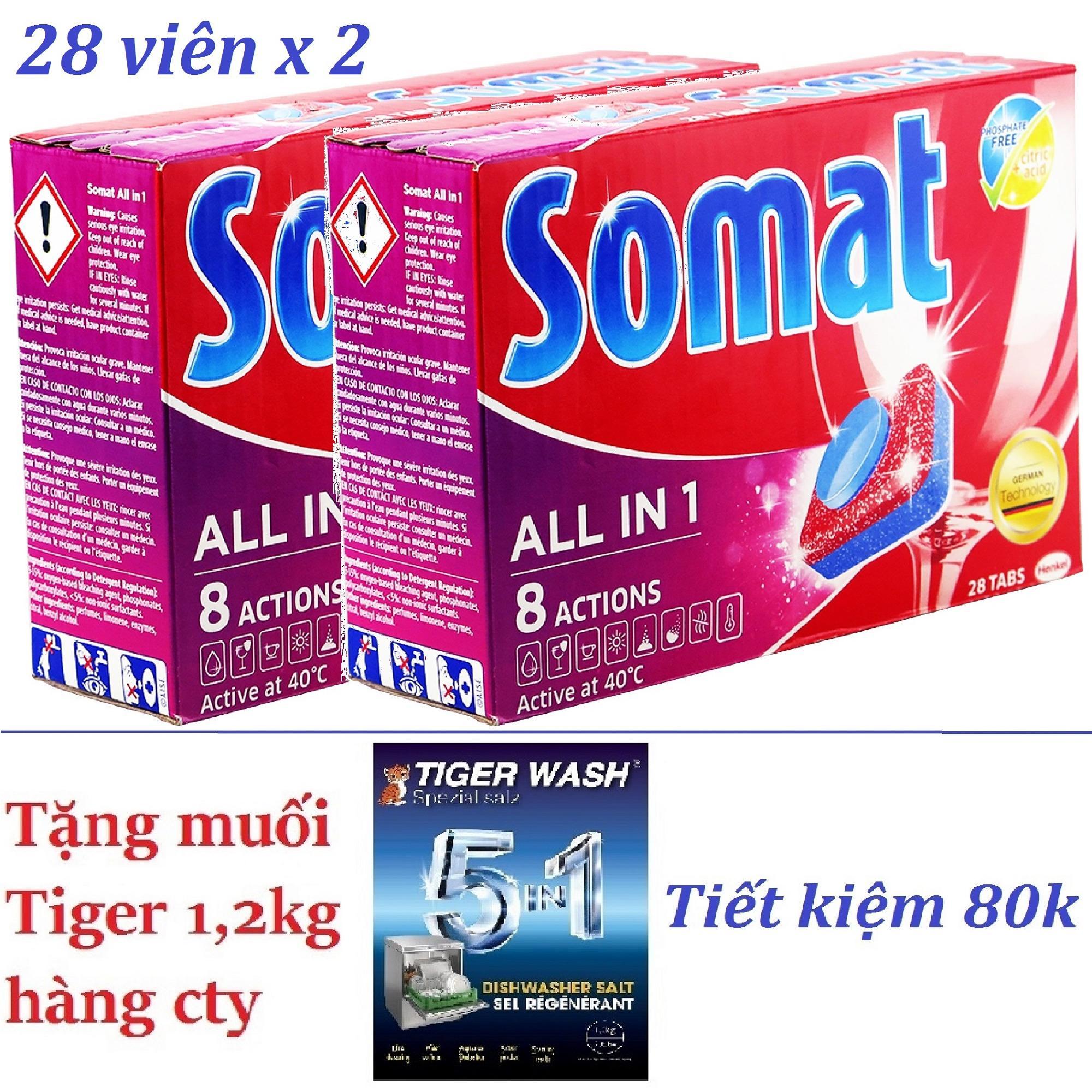 2 Hộp Vien Rửa Somat 8In1 Hộp 28V X2 Nk Đức Tặng Muối Tiger Cho May Rửa Chen Bat Somat Chiết Khấu