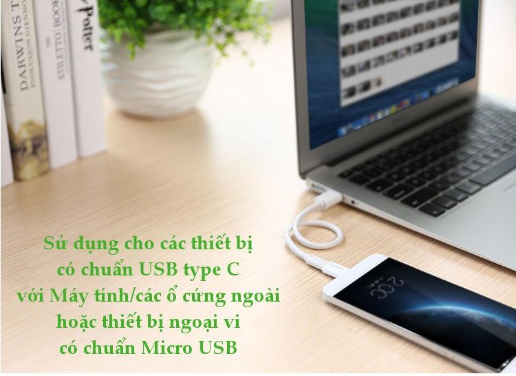 Đầu chuyển Micro USB  sang USB type C, hỗ trợ chức năng OTG cho One plus 6 5 Xiaomi mi 8 Huawei.. UGREEN US157