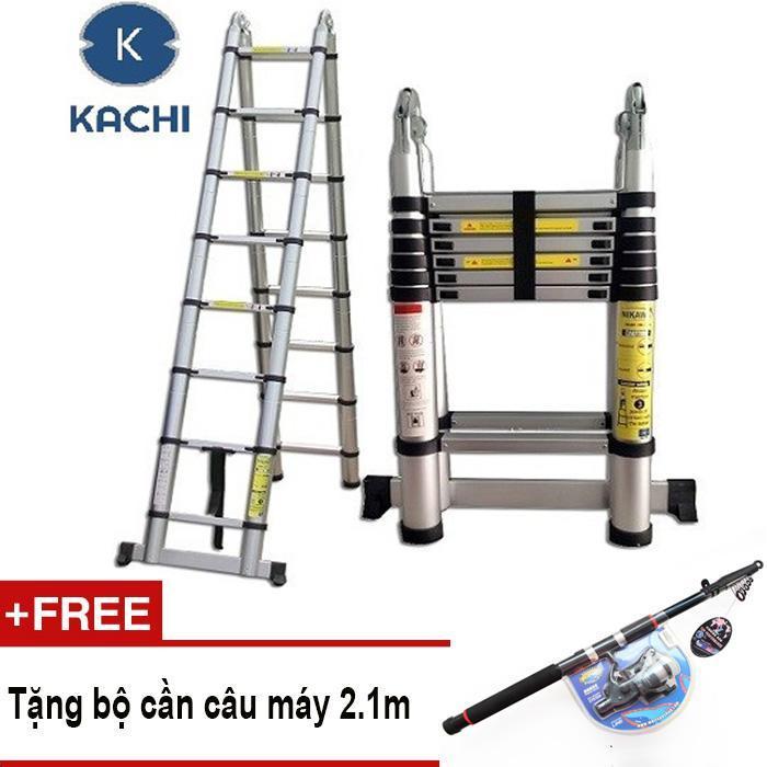 Thang rút nhôm chữ A Kachi 3.8m MK02 + Tặng bộ cần câu máy 2.1m