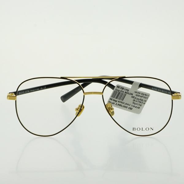 Giá bán GỌNG KÍNH BOLON BJ7023-B10 56-15 (Gọng kim loại đen pha vàng, càng nhựa đen)