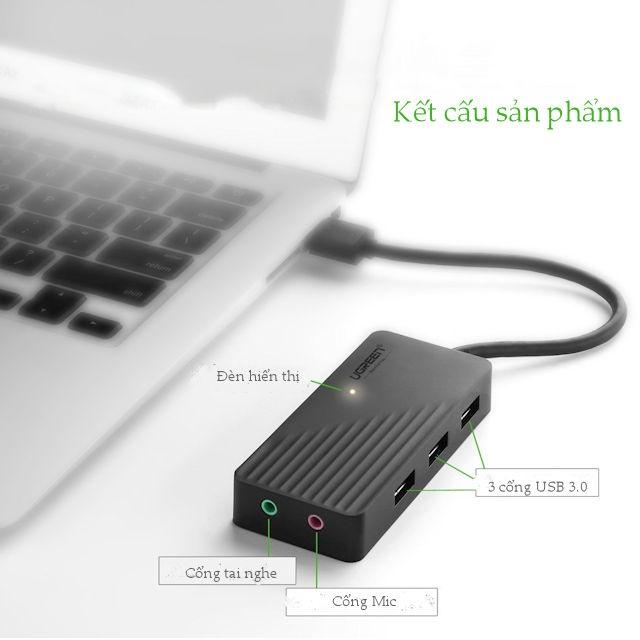 Hub USB 3 cổng 3.0 kèm 2 đầu mic và tai nghe cho âm thanh ngoài UGREEN CR134