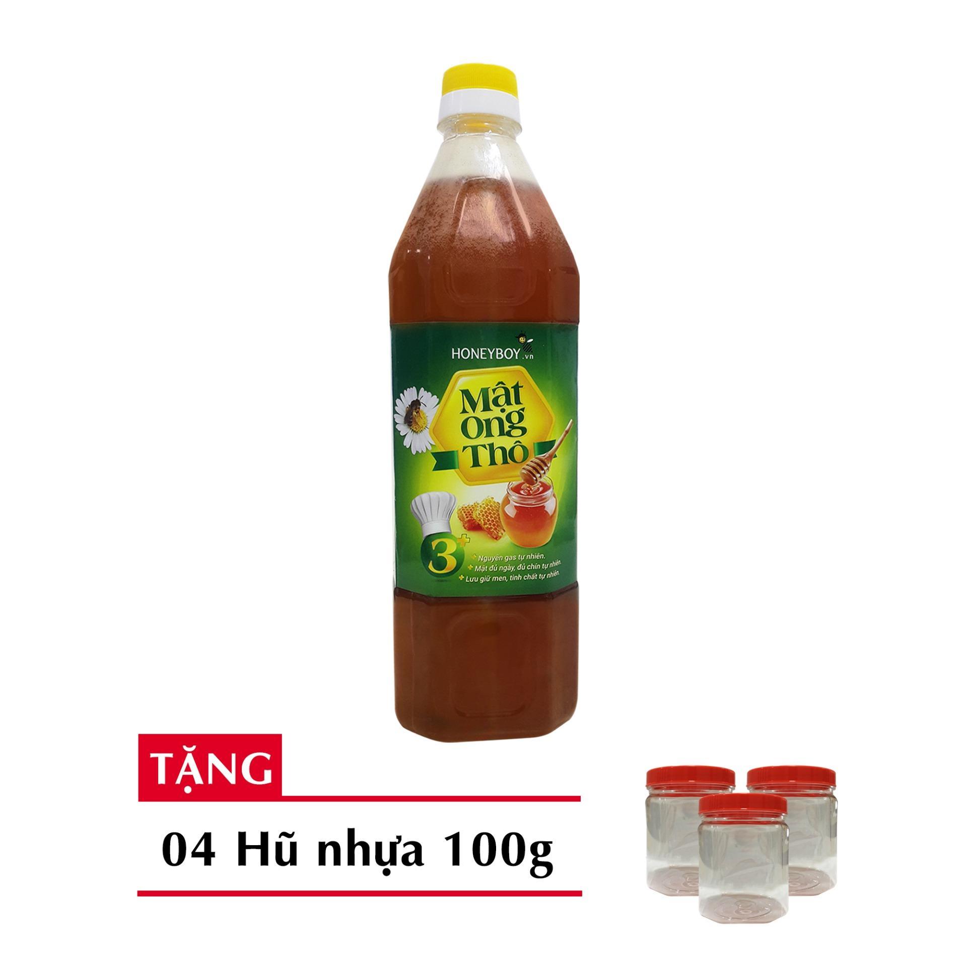 Mật ong Thô Honeyboy 1000ml Tặng kèm 3 hũ nhựa 100g