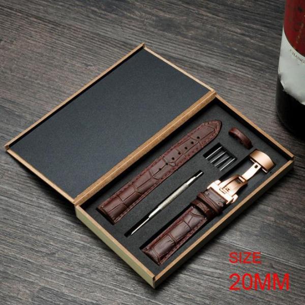 [HCM]Dây đồng hồ da bò cao cấp tặng Hộp Gỗ SIZE 20mm ( Da NÂU) kèm khóa bướm thép không gỉ 316L (VÀNG)