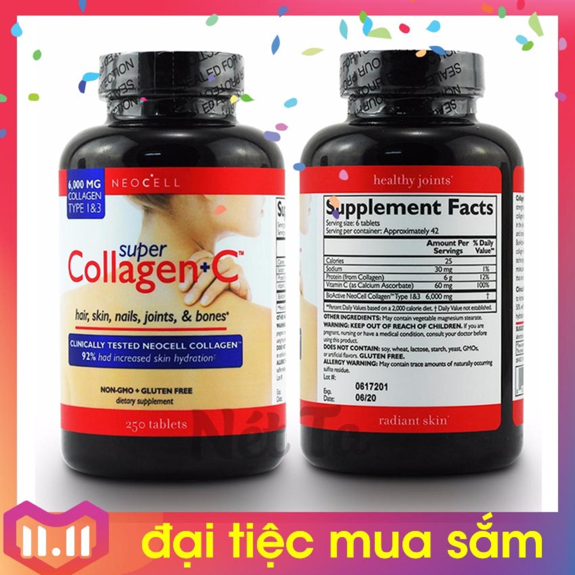 Neocell Super Collagen + C 6000 mg Collagen Type 1&3 hộp 250 viên - Mỹ - chăm sóc da, tóc, móng và xương khớp