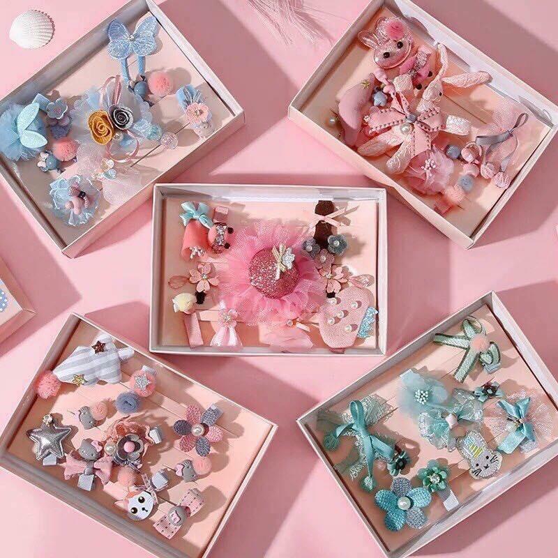 Hình ảnh Bộ hộp quà kèm 10 kẹp tóc cho bé gái - màu hồng