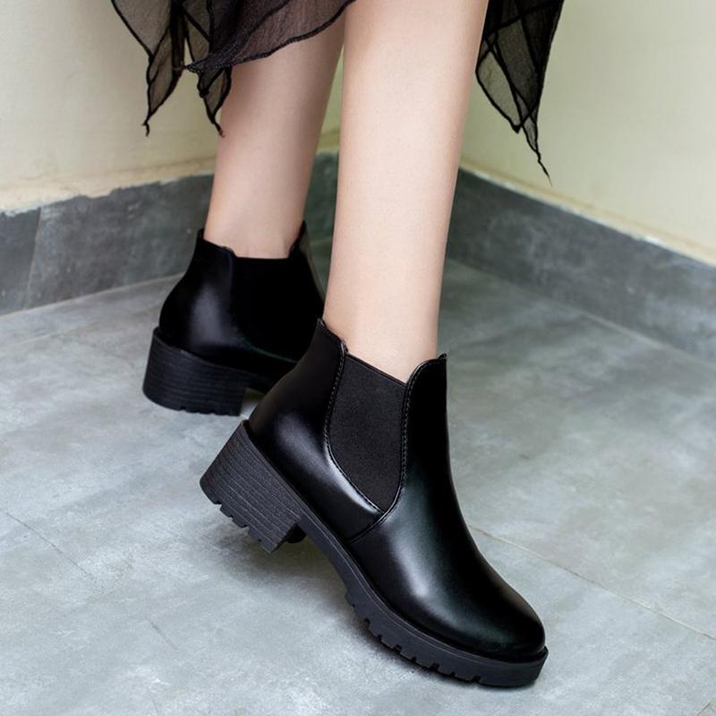 Giày boot nữ chun cổ thấp 2018 đế 5cm, boot da đế 5p, bốt cổ thấp -GCG07+ Tặng thẻ tích điểm