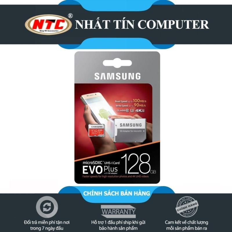 Thẻ nhớ MicroSDXC Samsung Evo Plus 128GB UHS-I U3 4K 100MB/s kèm Adapter - box Anh (Đỏ)