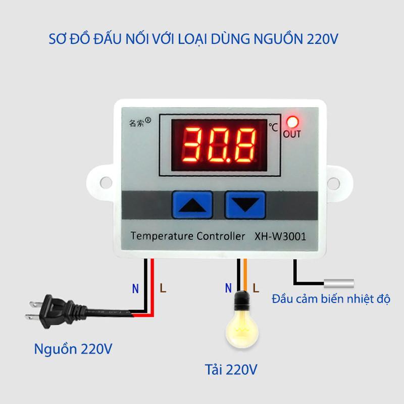 Bộ điều khiển nhiệt độ tự động Futureworld XH-W3001 10A/220V, cảm biến nhiệt độ, điều khiển cảm biến nhiệt độ, lò ấp chứng, lò sấy, đầu dò nhiệt độ, đồng hồ cảm biến nhiệt độ