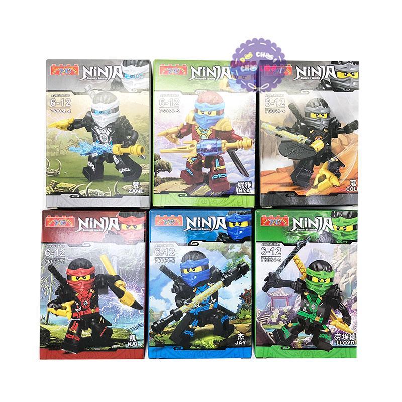 Hình ảnh Bộ 6 hộp đồ chơi lắp ráp Robo Ninja xanh bằng nhựa 76064