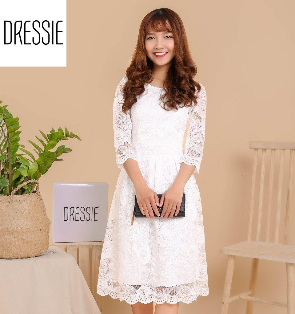 Hình ảnh [HÌNH THẬT-Có 2 Màu] Đầm Ren Xòe Cao Cấp DRESSIE Váy Thời Trang Công Sở Dạo Phố Dự Tiệc - DX1069 (Đen - Trắng)