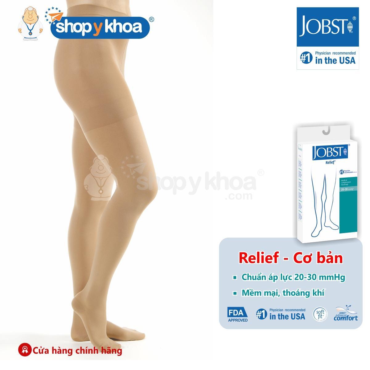 Vớ/tất y khoa quần điều trị suy giãn tĩnh mạch chân JOBST Relief chuẩn áp lực 20-30mmHg (kín ngón, màu da)