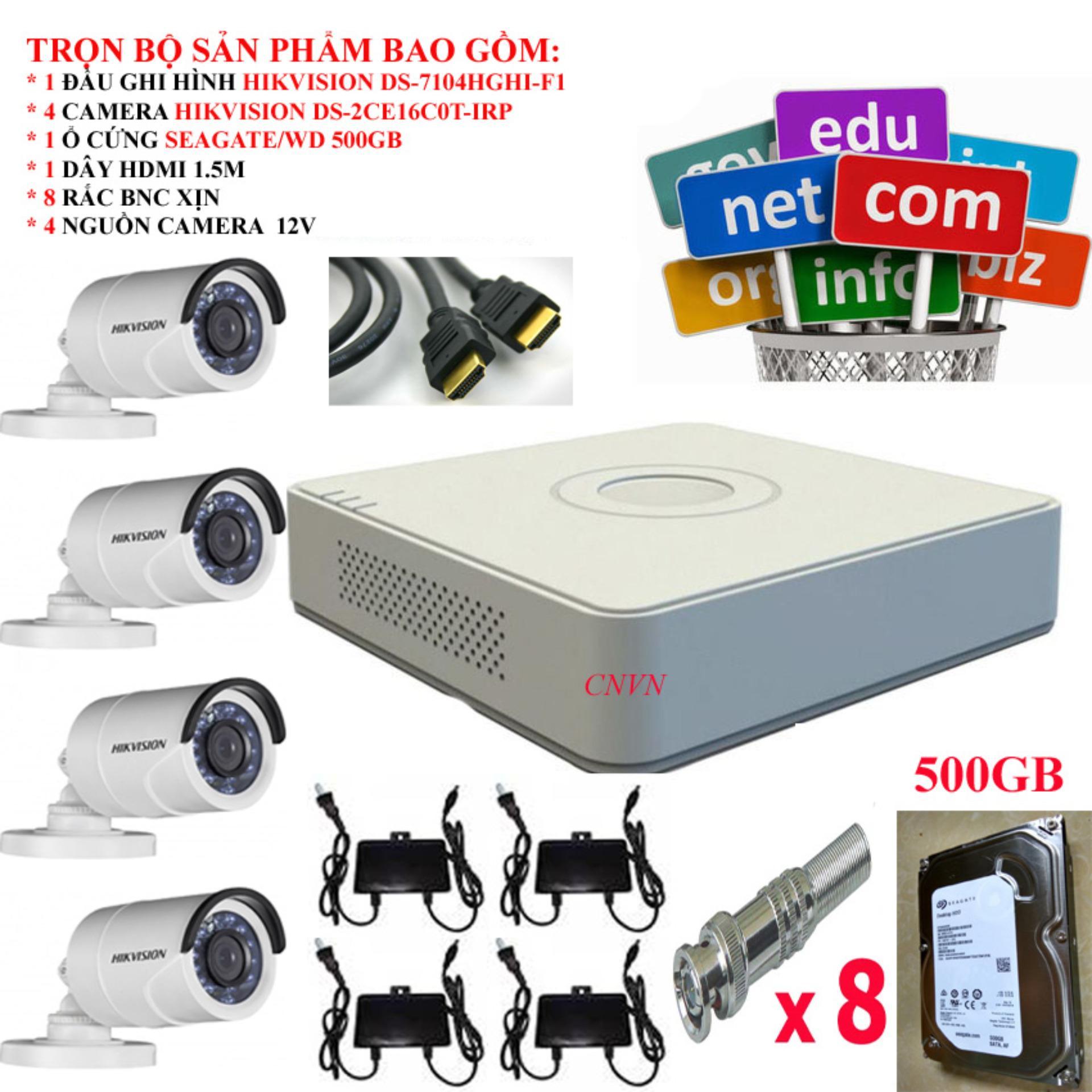Hình ảnh Trọn bộ 4 Camera Hikvision: DS-7104HGHI-F1 + 4 Camera HD 720P DS-2CE16C0T-IRP + 1 ổ cứng Seagate /WD 500GB + 4 Nguồn nhện xịn 12V + 8 Rắc BNC + 1 dây HDMI