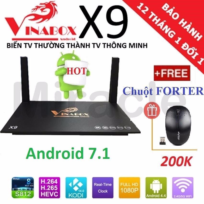 Hình ảnh Android Tivi Box VINABOX X9 (New 2018, Android 7.1) + Tặng Chuột FORTER trị giá 200K - Phân phối bởi Miracles Company