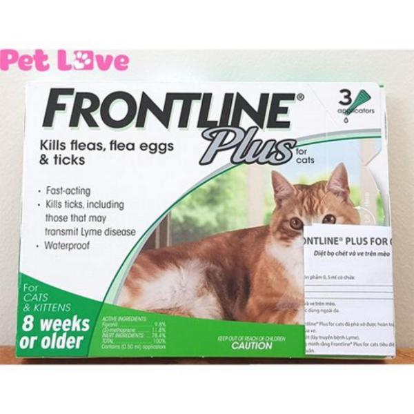 1 hộp Frontline Plus (3 tuýp) nhỏ gáy trị ve rận, bọ chét cho mèo