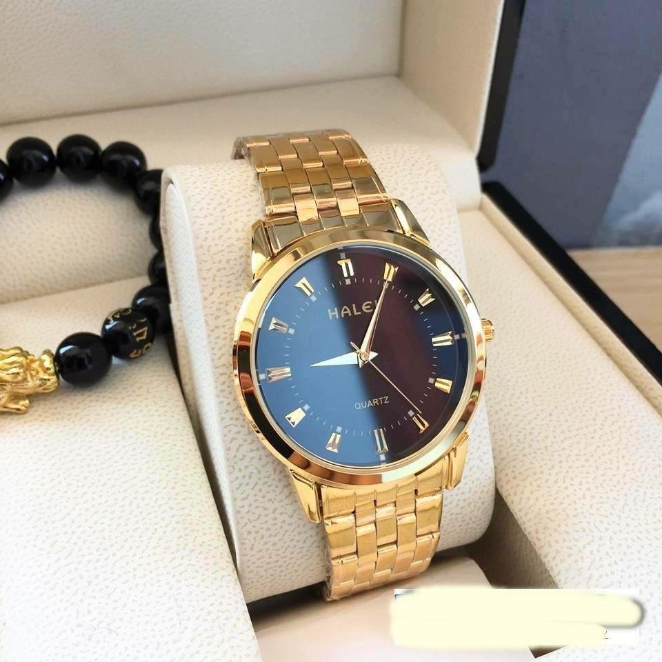 đồng hồ nam halei dây vàng mặt đen,chống nước ,chống xước tuyệt đối