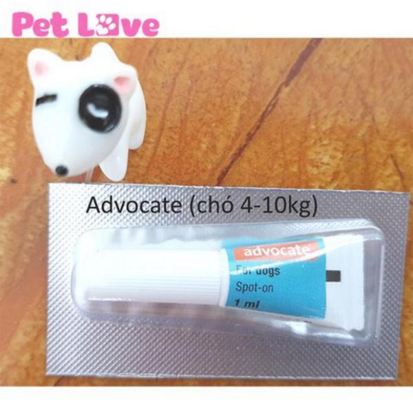 1 tuýp Advocate nhỏ gáy trị giun, ghẻ, ve rận, bọ chét (chó từ 4 - 10kg)