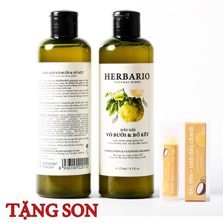 Combo 2 chai Dầu Gội bưởi và bồ kết Herbario 270ml Tặng Son