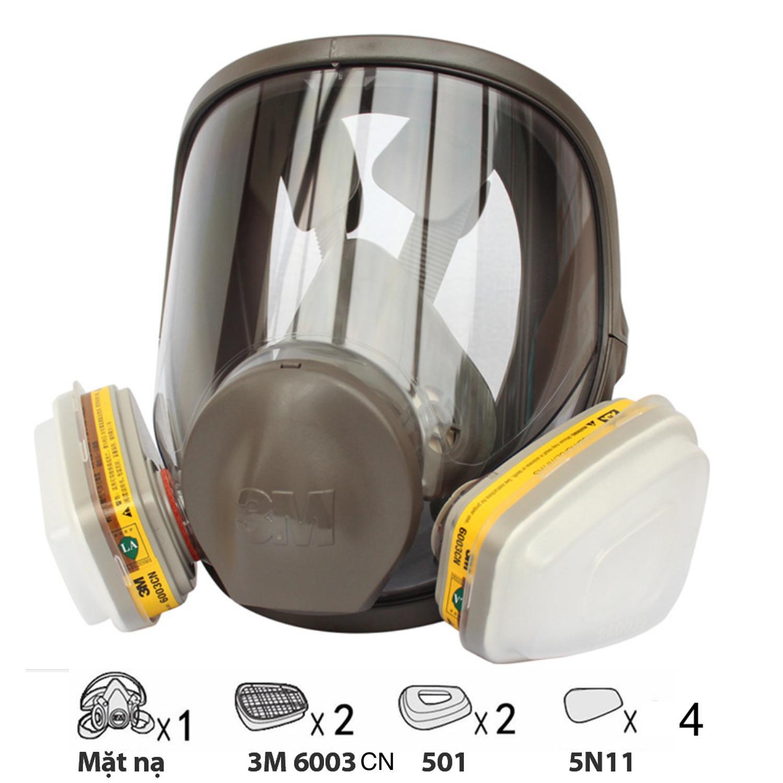 Bộ mặt nạ phòng độc 3M 6800 + Phin lọc 3M 6003CN mặt nạ chùm toàn mặt 3M 6800 chống khí độc đặc biệt môi trường A xít, dùng phun sơn, phun thuốc sâu.