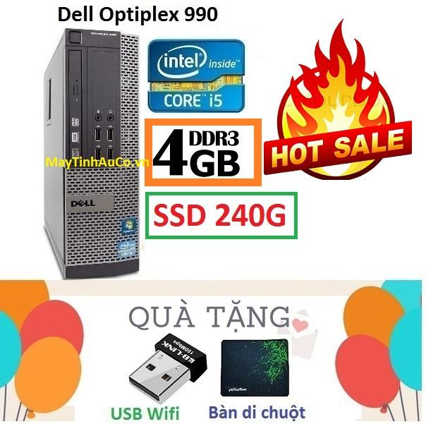 Thùng Đồng Bộ Dell Optiplex 990 (Core i5 2400 / 4G / SSD 240G ), Tặng USB Wifi , Bàn di chuột , Bảo hành 02 năm - Hàng Nhập Khẩu