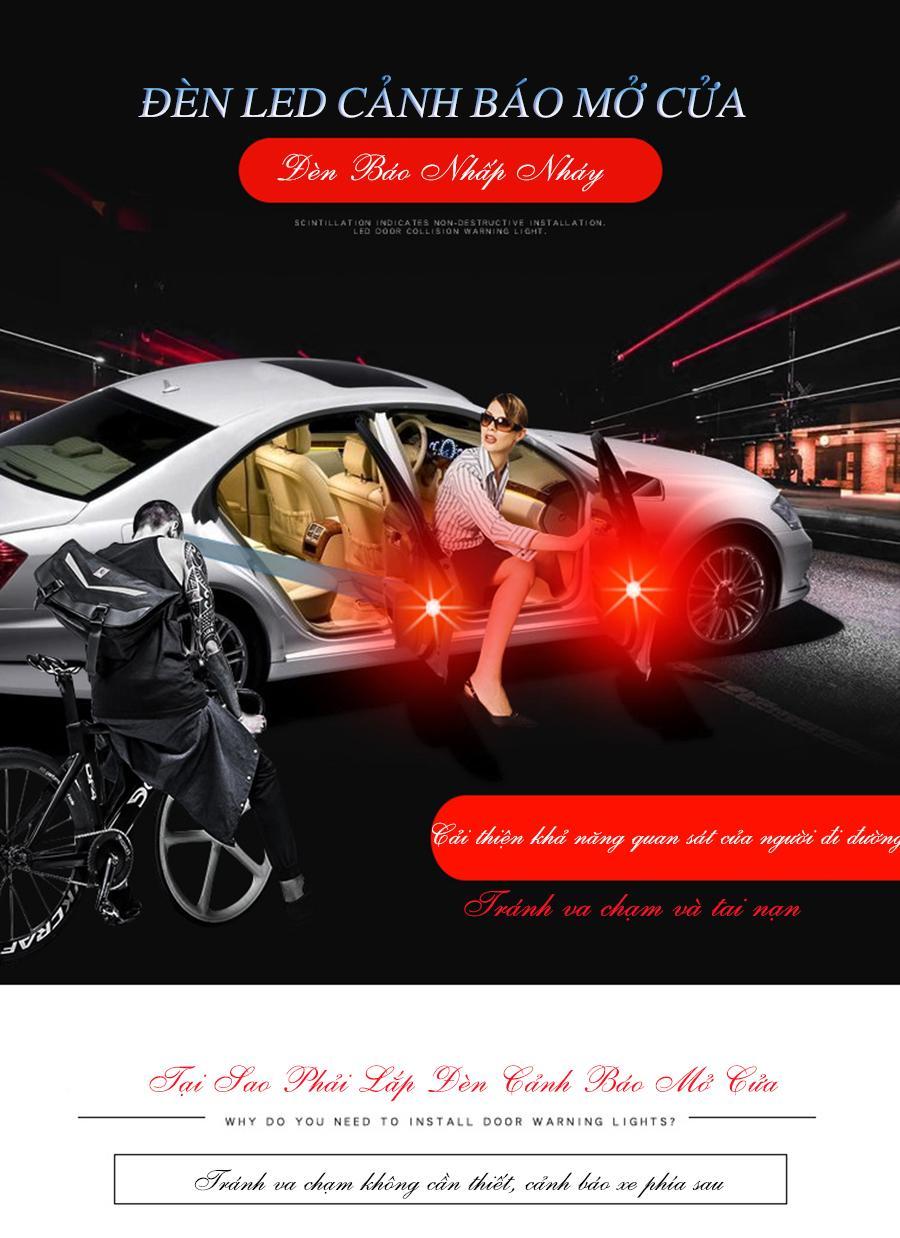 Bộ 4 Đèn LED cảnh báo mở cửa xe ô tô loại đặc biệt 3 bóng led trong 1 đèn