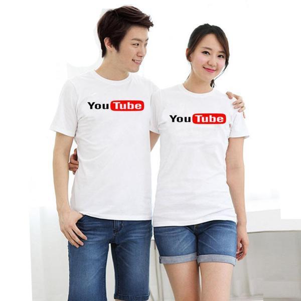 Áo thun cặp đôi in hình Youtube form rộng phong cách hàn quốc