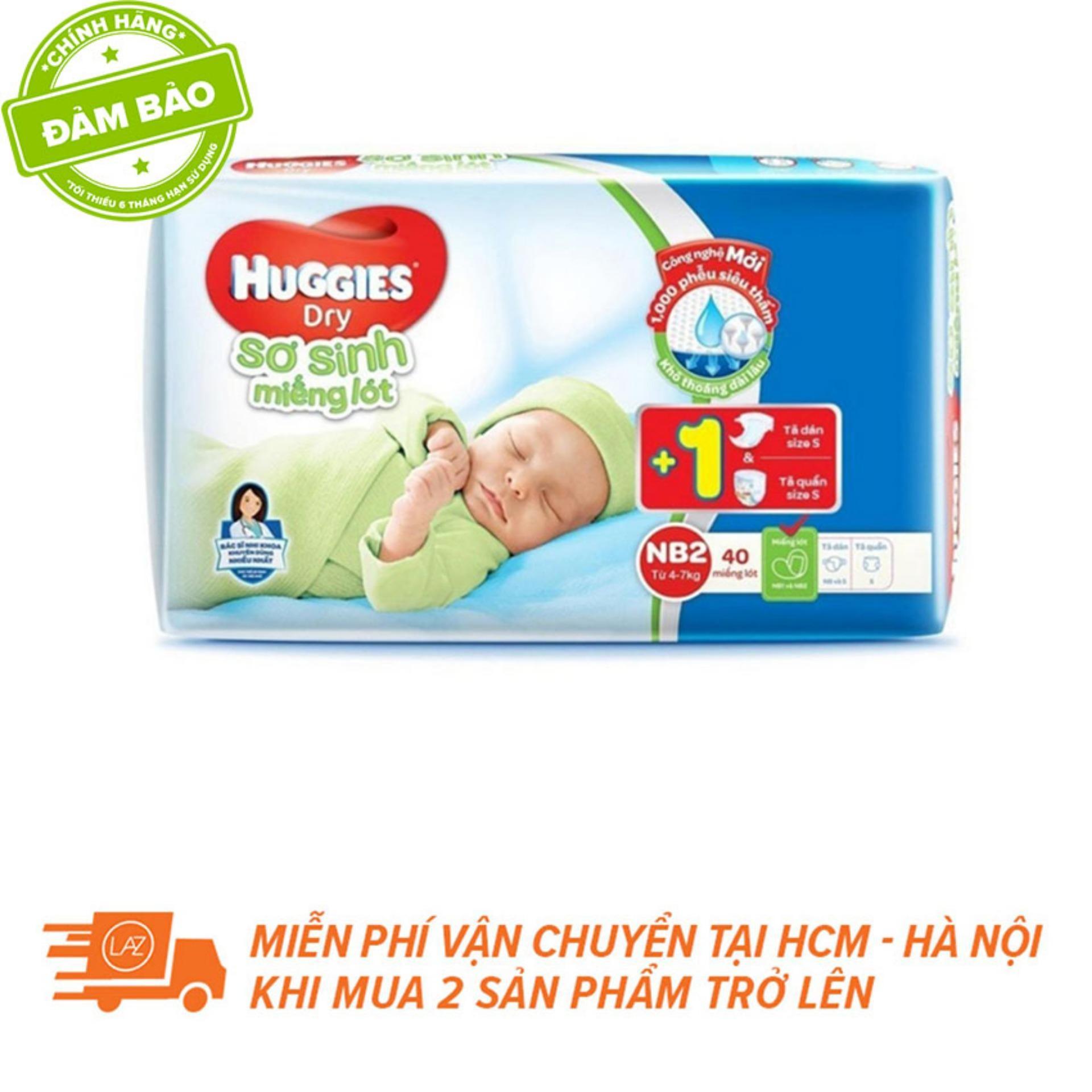 Miếng Lót Sơ Sinh Huggies Newborn 2 N40 (4-7kg) 40 Miếng + Tặng 1 Tã/bỉm Dán Và 1 Tã/bỉm Quần Sơ Sinh By Lazada Retail Huggies.