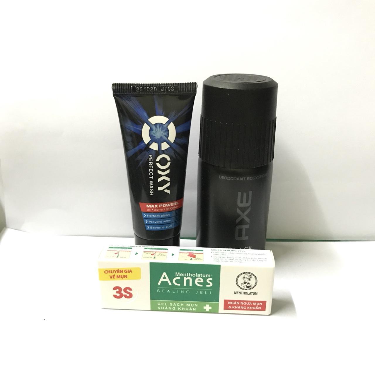 trọn bộ 3 món :1chai xịt khử mùi Axe (50ml/chai) + 1tuýt sữa rửa mặt Oxy (25g/tuýt) + tặng 1tuýt Acnes ngừa mụn và kháng khuẩn 2g & kèm theo 1 túi đựng xinh xắn