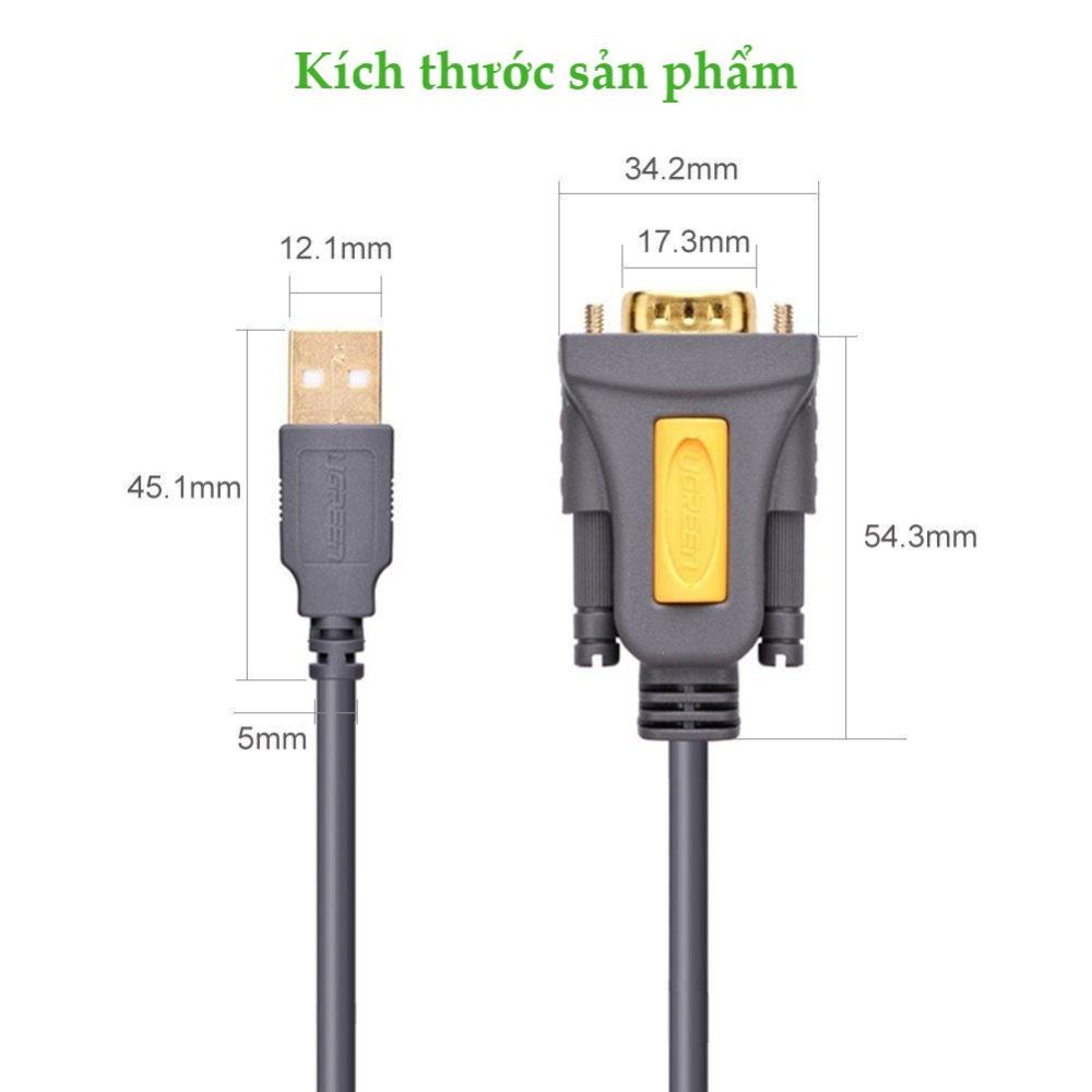 Dây USB 2.0 sang COM DB9 RS-232 chipset PL2303TA dài 1-3m UGREEN CR104