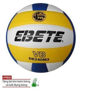 Quả Bóng Chuyền Da PU Ebete DE240M3 + tặng túi lưới + kim bơm thumbnail