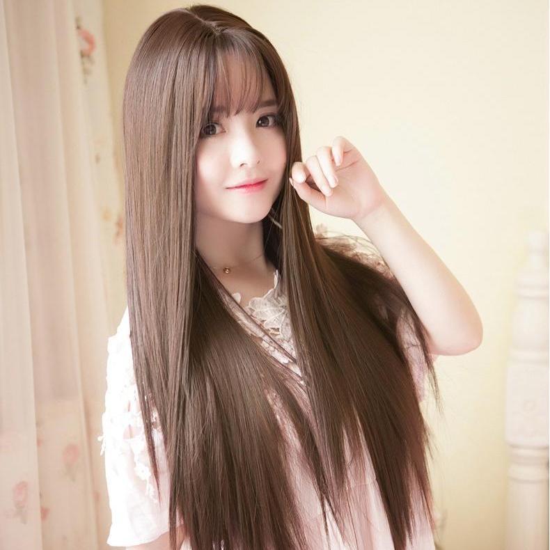 [TẶNG KÈM LƯỚI] Tóc giả nữ nguyên đầu sợi tơ Hàn Quốc CÓ DA ĐẦU - TG87 ( NÂU VÀNG Y HÌNH ) nhập khẩu