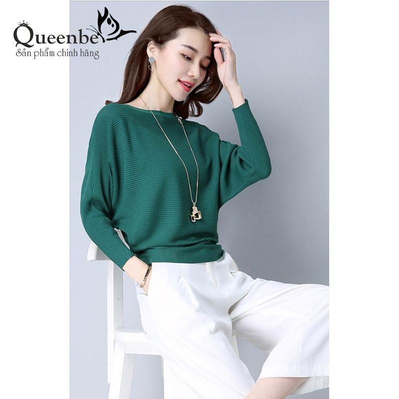 Hình ảnh Áo len nữ kiểu đẹp màu xanh lá áo cánh dơi cổ thuyền Queenbe GLA206