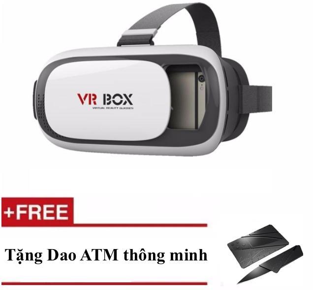 Kính thực tế ảo xem phim 3D VR Box phiên bản 2.0 màu trắng + Tặng Dụng cụ đa năng